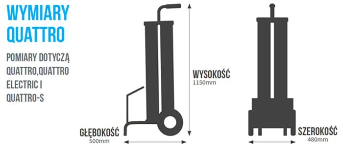 Wymiary urządzenia do produkcji wody demineralizowanej